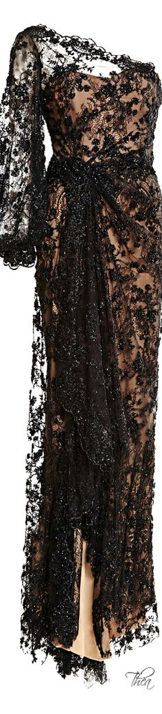 Marchesa ● Resort 2015, Black Re-Embroidered Gown