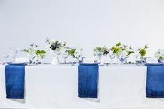Photography: Tuan Bui - tuanb.com  Read More: http://www.stylemepretty.com/midwest-weddings/2014/05/01/blue-white-spring-table-inspiration-ombre-napkin-diy/