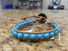 Turquoise Crystal Healing Single Wrap Bracelet by DoubleDeesigns on Etsy
