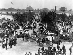 1905 Indiana State Fair from the Midway looking east along the main street of the fairgrounds.