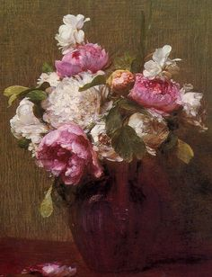 peonies - pink and white peonies, roses, and narcissus