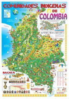 Mapa de Comunidades Indigenas de Colombia Slow Travel, Budget Travel, Native American Map, Francia Paris, Colombian Culture, Colombia Travel, Party Flyer, Central America, Backpacking