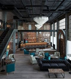 Take a look at this amazing home interior design trends and how they fit perfect. - Take a look at this amazing home interior design trends and how they fit perfectly into your dining - Industrial Bedroom Design, Modern Industrial Decor, Industrial Stairs, Industrial Interiors, Industrial Farmhouse, Industrial House, Urban Industrial, Modern Decor, Industrial Lighting