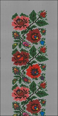 Gallery.ru / Фото #1 - Без названия - 753159 Cross Stitch Borders, Cross Stitch Rose, Cross Stitch Flowers, Cross Stitch Designs, Cross Stitch Patterns, Folk Embroidery, Learn Embroidery, Embroidery Patterns Free, Cross Stitch Embroidery