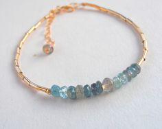 Precious Stone gold bracelet. Gold  Blue Turmaline Ombre bracelet, Dainty Gemstone Bracelet. Made to order.