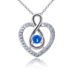 925 Sterling Silver Heart Blue CZ Eternal Infinity Love Pendant Necklace ** Find out more about the great product at the image link.Note:It is affiliate link to Amazon.