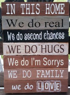 """This rustic 11"""" x 14"""" (size approximate) pallet sign is a delightful patchwork of color. Distressed background in shades of brown, grey and black with white, bl"""