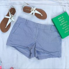 """Gently worn J Crew striped shorts In great condition, just has some wrinkles on the bottom. Blue and white striped. Perfect for summer! 2"""" inseam. No trades! Please feel free to ask anything and check out my bundle discount to save more! J. Crew Shorts"""