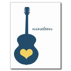 Blue/Yellow Guitar Heart Table Postcard