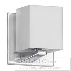 1-light Polished Chrome Frosted White Glass Sconce - at - 0153 - Your Online