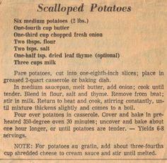 Vintage Recipes: Scalloped Potatoes More - Potato Recipes Old Recipes, Vegetable Recipes, Great Recipes, Cooking Recipes, Favorite Recipes, Recipies, Cookbook Recipes, Family Recipes, Grilling Recipes