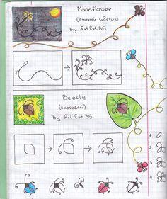 Moon Flower and Beetle Zen Doodle Patterns, Zentangle Patterns, Tangle Doodle, Doodles Zentangles, Pattern Drawing, Pattern Art, Doodle Drawings, Doodle Art, Planner Doodles