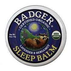 Badger Sleep Balm - Lavender  Bergamot V03-0270701-9100 - 0.75 oz skin balm in travel size tin. USDA Organic.