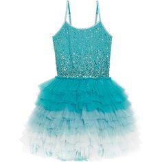 Tutu Du Monde Glitter Bauble Tutu Dress ($150) ❤ liked on Polyvore featuring dresses, blue dress, blue cocktail dresses, ruffle dress, glitter cocktail dresses and flutter-sleeve dress