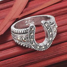 Marcasite Horseshoe Ring - Western Wear, Equestrian Inspired Clothing, Jewelry, Home Dé...