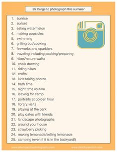 Never thought about documenting our nighttime routine! Great list of summer photography ideas - 25 Things to Photography this Summer