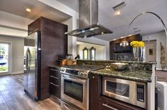 Stainless appliances and custom cabinetry