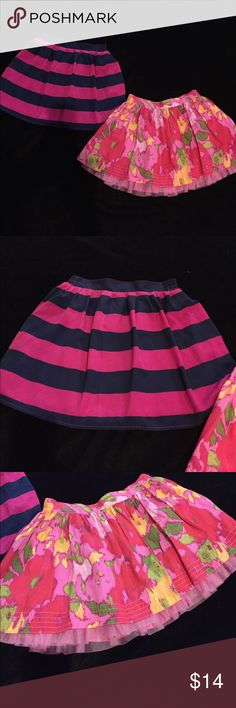 Skirt Bundle Old Navy striped navy/pink skirt w/elastic waist (sz 10/12) and Gap floral Skirt with tuelle underlay (sz 10). New condition! Gap and Old Navy Bottoms