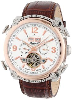 Ingersoll Men s Montgomery Analog Display Automatic Self Wind Brown Watch 37303389e49