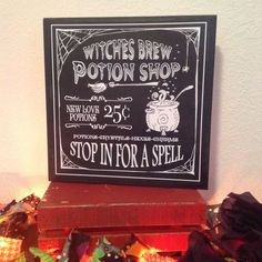 Halloween Signs, Witch's Potion Brew Sign, Old Witch In Shoe, Madame Zodiac Sign, Beware Bump In Nig Halloween Signs, Halloween Horror, Holidays Halloween, Halloween Ideas, Halloween Party, Coffee Shop Signs, My Coffee Shop, Coffee Chalkboard, Chalkboard Art