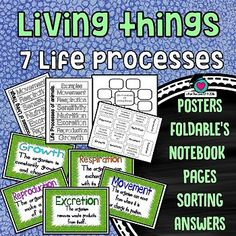 This Packet focusses on Living things what the definition of a living thing is and what the 7 Life processes are that define any living thing. Included are: - Living things definition poster/chart - 7 posters with each having a definition of one of the l Education And Literacy, Primary Education, Elementary Schools, Beginning Of The School Year, Back To School, High School, Middle School, Eighth Grade, Grade 2