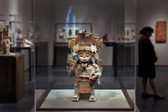 """An effigy censer, (AD 1200-1500), from Mayapan, Yucatan, Mexico, is displayed at the Los Angeles County Museum of Art, LACMA, exhibit """"Children of the Plumed Serpent: The Legacy of Quetzalcoatl in Ancient Mexico."""" The exhibit is an exploration of the ancient kingdoms of southern Mexico and their deity: Quetzalcoatl, the human incarnation of the Plumed Serpent, being shown at LACMA's Resnick Pavilion from April 1 through July 1. AP Photo/Damian Dovarganes."""