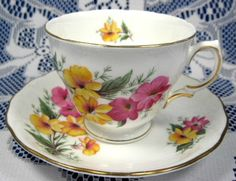 Cup and Saucer Colclough Pink And Yellow Floral 1950s English Teacup
