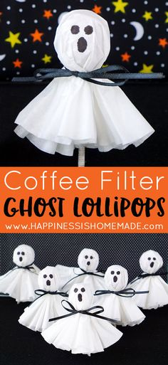Easy Halloween Craft: These coffee filter ghost lollipops are a cute and easy twist on classic kleenex tissue ghosts. A nostalgic and fun Halloween treat that's sure to be a big hit with kids of all ages! Diy Halloween Party, Halloween Treats For Kids, Halloween Goodies, Holidays Halloween, Kids Halloween Activities, Toddler Halloween Crafts, Halloween Classroom Decorations, Halloween Arts And Crafts, Holloween Ideas For Kids