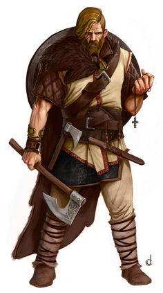 m Barbarian/Cleric multi-class urban shield 2 axes symbol Jorge Carrero
