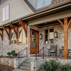 Rustic Brick House Exterior, Corbels Exterior, House Paint Exterior, Dream House Exterior, Exterior House Colors, Exterior Design, Ranch Exterior, Exterior Remodel, House With Porch