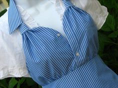 Make Apron from Men's Shirt | Upcycled Men's Dress Shirt Apron - Blue with White Pin Stripe