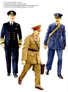 BRITISH ARMY - 1) General Sir Alan Brooke, Casablanca, 1943 - 2) Air Chief Marshal Hugh Dowding, Fighter Command HQ, UK 1940 - 3) Admiral Sir John Tovey, HSM King George V, High Sea, 1941
