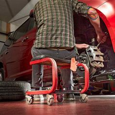 Save Your Back and Knees With a Rolling Seat - 14 Cool Auto Shop Tools You Need: http://www.familyhandyman.com/automotive/car-maintenance/cool-auto-shop-tools-you-need