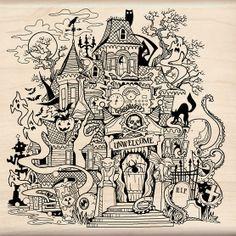 wooden Halloween inkadinkado rubber stamp Haunted house with graveyard,