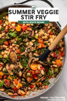 This vegan Summer Veggie White Bean Stir-Fry is packed with colorful veggies and creamy white beans. The perfect wholesome (yet delicious!) recipe to enjoy on summer weeknights! Check out this gluten-free recipe here! Entree Recipes, Vegetarian Recipes, Dinner Recipes, Healthy Recipes, Vegan Stir Fry, Beans Vegetable, Veggie Snacks, Veggie Side Dishes, White Beans