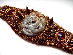 Gold  Bead Embroidery Bracelet Bronze by PreciousHeartBeads, $195.00