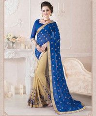 Light Coffee & Blue Color Georgette Party Wear Sarees : Ruprani Collection YF-27448