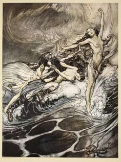 """songesoleil:  The Rhinemaidens obtain possession of the Ring and bear it off in triumph, from """" Siegfried and the Twilight of the Gods."""" 1924. Color Lithograph. Private collection.  Art by Arthur Rackham.(1867-1939)."""