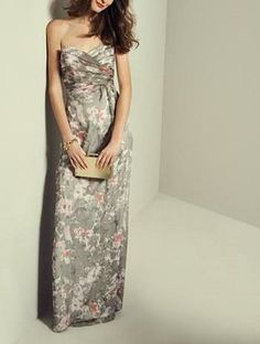 Love with this floral chiffon gown for a bridesmaid.