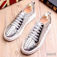 Blue Royal Metal Spikes Studs Punk Rock Loafers Sneakers Mens Shoes Studded Sneakers, Loafer Sneakers, Loafers Men, Metal Spikes, Metal Buckles, Men's Shoes, Shoe Boots, Spike Shoes, Winter Snow Boots