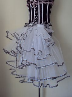 White Black Tartan Burlesque Moulin Rouge Bustle by thetutustoreuk, $45.00