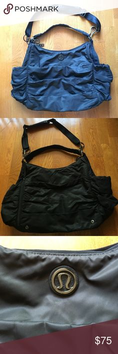 Lululemon Duffle/Tote Color: Black. In great condition. Great for gym or an overnight bag. One shoulder strap and one detachable crossbody strap. Easy to wipe clean. Plenty of pocket...too many to count! Bag style is duffle with a curve between the straps - similar to a Hobo bag lululemon athletica Bags Shoulder Bags