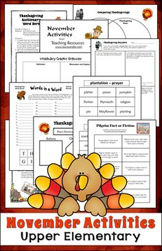 November activities and printables from Laura Candler's Teaching Resources - Ready-to-use lessons for 3rd, 4th, and 5th grade $