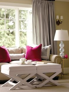 love the pops of pink in this otherwise neural living room #home For guide + advice on lifestyle, visit www.thatdiary.com