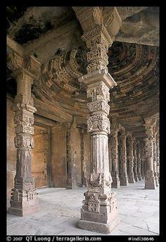 Colums around Quwwat-ul-Islam mosque, Qutb complex. New Delhi, India
