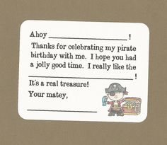 Set of 10 Custom Pirate Fill in the Blanks Thank by CardsByKooper