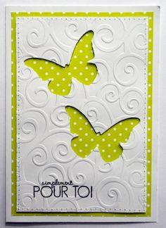 bricoscrap: Enfin un défi Ovo - Geburtstagskarte Diy Cute Cards, Diy Cards, Your Cards, Embossed Cards, Butterfly Cards, Diy Butterfly, Sympathy Cards, Creative Cards, Greeting Cards Handmade