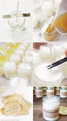 soy candle tutorial + printable labels | via going home to roost