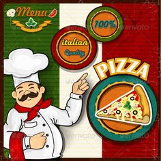 Chef Pizza Menu Background Italian Flag  #GraphicRiver         Italian chef pizza cartoon comic menu-transparency blending effects and gradient mesh EPS-10   The file includes: -1 vector -1 Raster high definition   Text style used: Britannic Bolt-PIZZA Best Quality 100%-Harlow Solid Italic Freehand 521 BT-Menu     Created: 25May13 GraphicsFilesIncluded: VectorEPS Layered: Yes MinimumAdobeCSVersion: CS Tags: banner #basil #cartoon #chef #comic #cook #cooking #cut #dinner #flag #food…