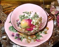 Rosina Tea Cup and Saucer Orchard Fruits on Pink All Gold Teacup | eBay